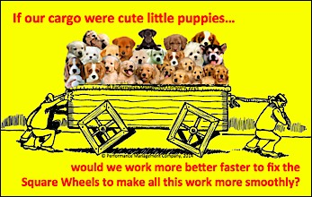 Square Wheels One Puppies Cartoon about people and performance