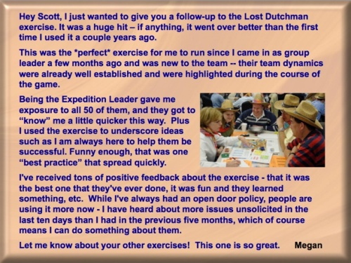 Testimonial on Lost Dutchman's Gold Mine team building game